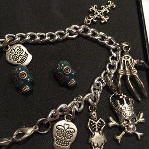 Skeleton Day Of The Dead Charm Bracelet & Earrings